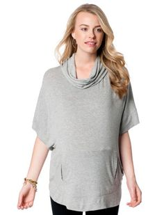A Pea in the Pod Elbow Sleeve Cowl Neck Poncho Maternity Sweatshirt