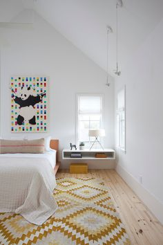 including the panda art :) Wall art and chic rug add color and pattern to the stylish Scandinavian bedroom [Design: Texas Construction Company] Decor, Room Design, Modern Scandinavian Bedroom, Modern Bedroom Design, Kids Room Design, Grey Bedroom Rug, Scandinavian Design Bedroom, Scandinavian Kids Rooms, Floating Bedside Table