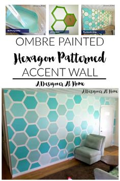 Modern Home Accents Bedrooms is part of Modern Home Accents Allmodern - ombre painted hexagon patterned accent wall A Designer At Home Ombre Paint, Accent Wall Bedroom, Accent Walls, Master Bedroom, Hexagon Pattern, Pattern Design, Diy Décoration, Wall Patterns, Home And Deco