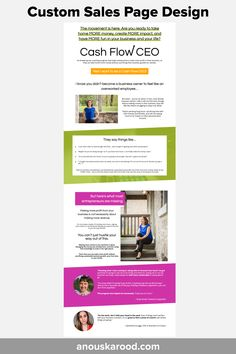 Custom Sales Page Design by Anouska Rood -for Cash Flow CEO Feeling Overwhelmed, Page Design, Our Life, More Fun, Flow, How To Become, Feelings, Sayings, Lyrics