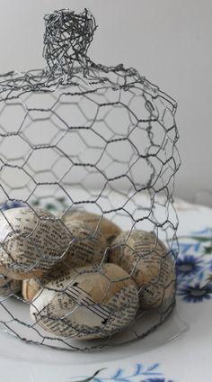 chicken wire cloche and paper eggs