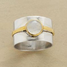 DOUBLE BANDED MOONSTONE RING - size 9 $58