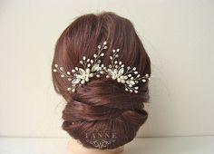 Pearl Wedding Hair Pins in Gold Crystal Hair by DesignedByTanne