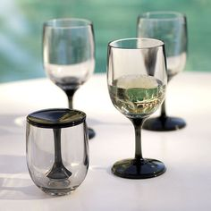 Nobody wants to deal with glass in the pool. These Japanese acrylic wine chalices come apart for easy storage.