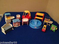 Little Tikes Doll House Furniture LOT Pool, Picnic Table, Kitchen etc