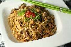I love asian foods. This is chicken lo-mein, the healthier version.