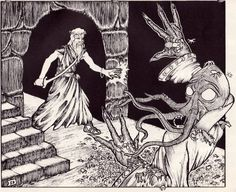 Oh, I'm sorry, did I break your concentration? You were probably about to say something about how druids are useless in dungeons. (Erol Otus, from The Rogues Gallery, TSR, 1980.)