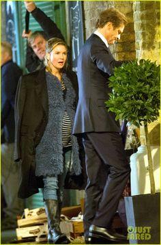 Renee Zellweger & Colin Firth filming scenes on the set of Bridget Jones's Baby in London, England on Tuesday (October 13, 2015)