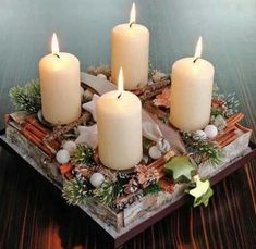 creative advent wreath ideas DIY advent wreath white candles wooden box