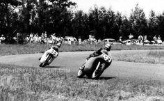 Dave Chadwick leads Mike Hailwood out of Angels at Hesketh January 1959 both on 350 Norton's