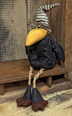 Black Plush Crow is great for fall or country decor.