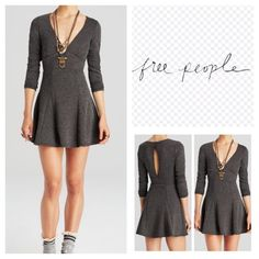 "Free People Heart Stopper Mini Dress.  NWT. Free People Heart Stopper  Mini Dress, 79% polyester, 21% cotton, machine washable, 17.5"" armpit to armpit (35"" all around), 33"" empire waist, 16"" arm inseam, 36"" length, sweetheart V neckline, three quarter sleeves,  seamed empire waistband, flare skirt, back cutout, pullover, measurements are approx.  ....No Trades...(4) Free People Dresses Mini"