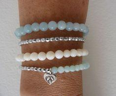 beachcomber aqua amazonite jade silver shell bracelet stack - crystal healing bracelets