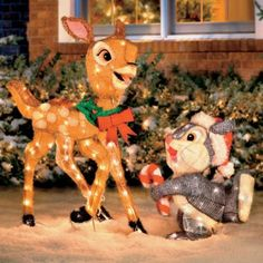 What a charming holiday pair! Bambi and Thumper became fast friends in the famous Walt Disney classic movie, and now you can add them to your holiday yard display.