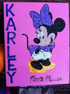 Polka Dot Minnie Mouse sequin mosaic $25.00 #teresascanvascreations