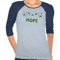"Invisible Illness ""HOPE"" L/S T-shirt Green Stars"