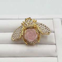 Joan-Rivers-Gold-Trim-with-Pearls-and-Pink-Flower-Bee-Brooch-Pin