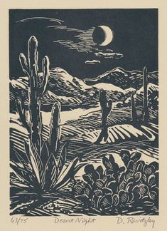 Desert Night - Linocut by Dennis Revitzky Linocut Prints, Art Prints, Block Prints, Illustrator, Cowboy Art, Art Graphique, Grafik Design, Western Art, Art Plastique