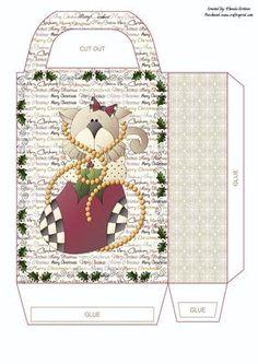 Christmas Kitty Gift Bag on Craftsuprint - Add To Basket!