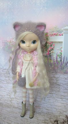 Pullip hat cat gray mohair pullip helmet knitted hat for Pullip doll pullip outfit pullip chapeau beanie handmade by JujaShop on Etsy