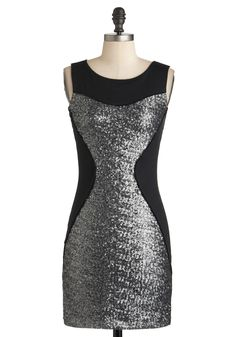 Use the Fierce Dress - Black, Silver, Sequins, Party, Girls Night Out, Sheath / Shift, Sleeveless, Winter, Jersey, Short