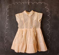 Vintage 1940's Handee Sheer Girls Dress Size 4T 5T by Road10, $34.95