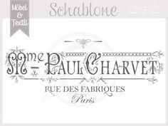 Vintage Schablone * PAUL PARIS *French Shabby Look von Basket & Pillow auf DaWanda.com