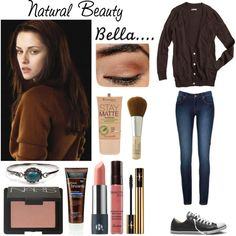 Bella Swan (natual beauty) by laceyjenner on Polyvore featuring beauty, NARS Cosmetics, Rimmel, Guerlain, Yves Saint Laurent, Origins, John Frieda, Fantasy Jewelry Box, Converse and Cullen