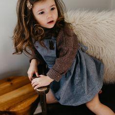 the Chambray Pinafore: Styled 3 Ways  Fashion  Kidswear  Toddler Fashion  Girls Pinafore  Classic Girls Style  Chambray Pinafore  ewmccall  Girls outfit inspiration  Toddler looks 