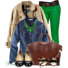 """Denim top&green jeans"" by doradabrowska on Polyvore"