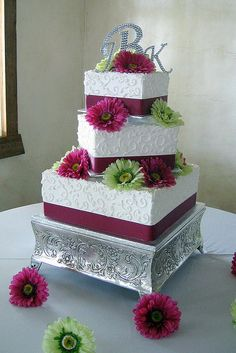 Pink and White Square Wedding Cake by Graceful Cake Creations, via Flickr