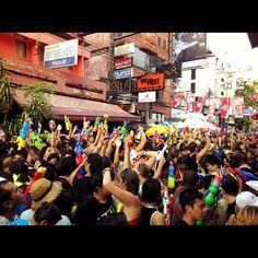 #songkran #bkk- @lin_jc- #webstagram / Kaosan Rd, Bangkok Songkran Festival, Bangkok, Times Square, World, Travel, Viajes, Destinations, The World, Traveling