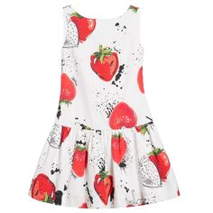 Monnalisa Red & White Cotton Strawberry Print Dress at Childrensalon.com