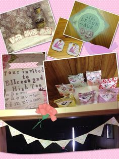 Invites, little hand made party bags with tea-bag looking biccies and tea satchel. Handmade banner, little cookie tea-bag lables & stamped food lables