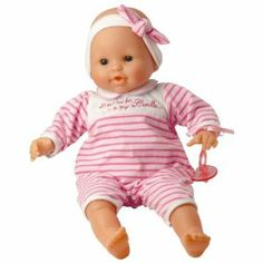 Corolle Les Classiques Suce Pouce Pink Stripes Baby Doll by Corolle. $47.98. Every Corolle doll is styled in France. At Corolle we bring caring, savoir-faire and style to everything we create, so that every little girl can find the doll of her dreams in our collection. This charming soft-bodied baby doll can sit up by itself and can suck on its thumb or pacifier, just like a real baby.. Offered in a variety of sizes so that every little girl can choose the Corolle baby doll tha...