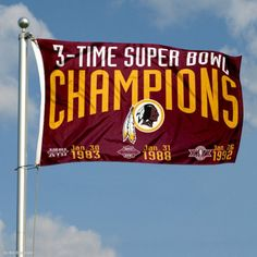 Washington Redskins 3 Time Super Bowl Champions Flag Redskins Players, Redskins Football, Washington Redskins, Redskins Pictures, Redskins Super Bowl, Nfl Flag, Pittsburgh Steelers, Dallas Cowboys, National Football League