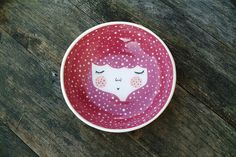 Ceramic serving bowl - red serving bowl - kitchen decor - face plate - face illustrated bowl in Dark Red colour-  MADE TO ORDER