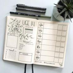Bullet journal weekly layout, plant drawing, weekly habit tracker, weekly food log. | @bujodeluxe