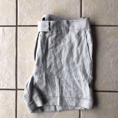 Talbots NWOT Pale Gray 100% Linen Cuffed Career Dress Walking Pocket Shorts 14 #Talbots #DressShorts