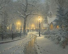 "Mark Keathley Limited Edition Hand-Embellished Canvas Giclee:""Winter Chapel "" - Mark Keathley"