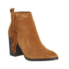 Office Jasper Fringed Boots ($71) ❤ liked on Polyvore featuring shoes, boots, ankle booties, ankle boots, tan suede, women, tan booties, tan fringe booties, fringe booties and high heel boots