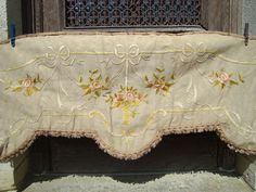 Large Antique French embroidered pelmet cantonniere basket of flowers and ribbon motifs from a Bordeaux chateau