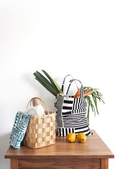 Muovo Stripes tote bag & Blocks tea towel  www.muovoshop.com