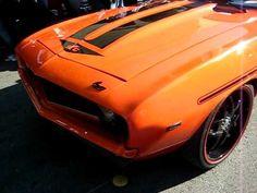 video - yenko 1969 chevy Camaro ls1 6 speed hugger orange big brake kit mini tubbed split 5 star wheels black