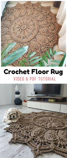 See all carpet patterns 👆- Crochet floor rug – Video & PDF tutorials by Oksana Lisova Crochet Home Decor, Crochet Crafts, Yarn Crafts, Knit Crochet, Mandala Rug, Crochet Mandala, Textured Carpet, Patterned Carpet, Yarn Projects