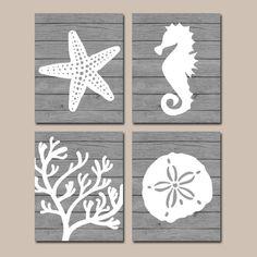 Beach BATHROOM Wall Art CANVAS or Prints Nautical Coastal Bathroom Decor Aqua Starfish Seahorse Coral Reef Wood Plank Design Set of 4 by TRMdesign on Etsy