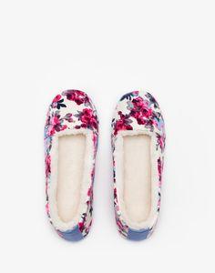 Dreama Cream Ditsy Fleece-Lined Slippers | Joules UK