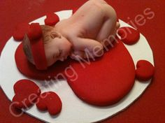 Sweet Heart Fondant Baby Cake Topper BABY SHOWER Made Of Red