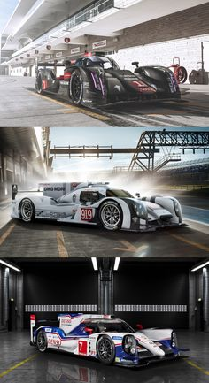 The 24 Hours of Le Mans remains the World's Greatest Endurance Race.  Exotic carbon-composite sports cars designed for enormous aerodynamic downforce and fitted with hybrid powerplants producing a thousand horsepower, the latest Le Mans prototypes push the technological envelope into territory totally unimagined in prior generations of racing. Forza corsa! Pictured: Audi R18 E-Tron Quattro | Porsche 919 Hybrid | Toyota TS040 Hybrid