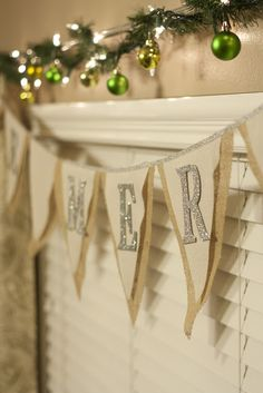 LOVING burlap, white, and silver glitter letters. Who would have thought?